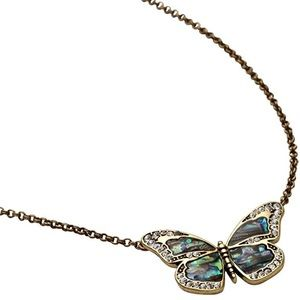 Fossil • Brass Ox Tone Crystal Butterfly Necklace